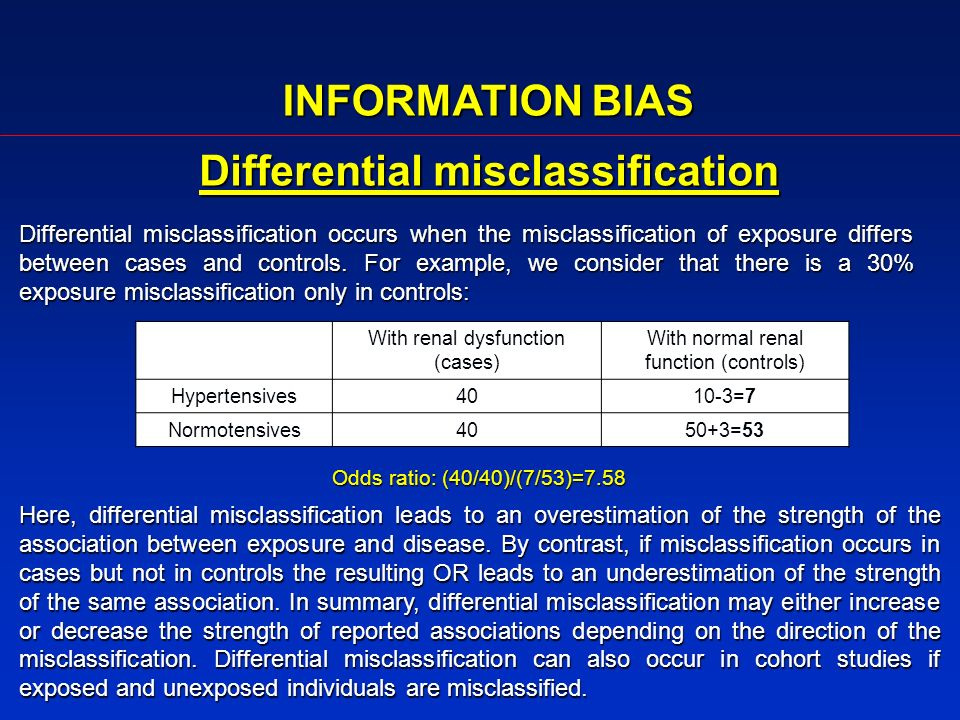 Differential misclassification occurs when the misclassification of exposure differs between cases and controls. For example, we consider that there i