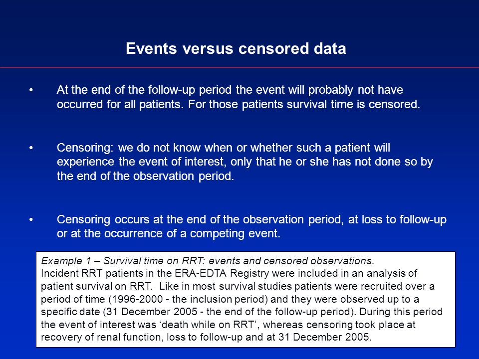 Events versus censored data At the end of the follow-up period the event will probably not have occurred for all patients.