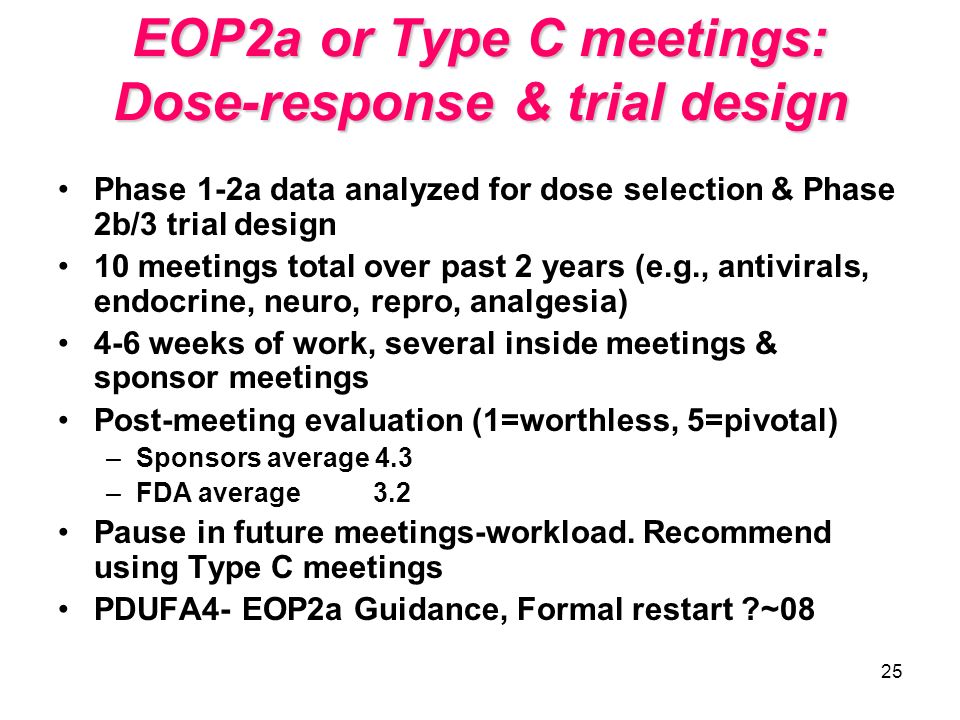 25 EOP2a or Type C meetings: Dose-response & trial design Phase 1-2a data analyzed for dose selection & Phase 2b/3 trial design 10 meetings total over