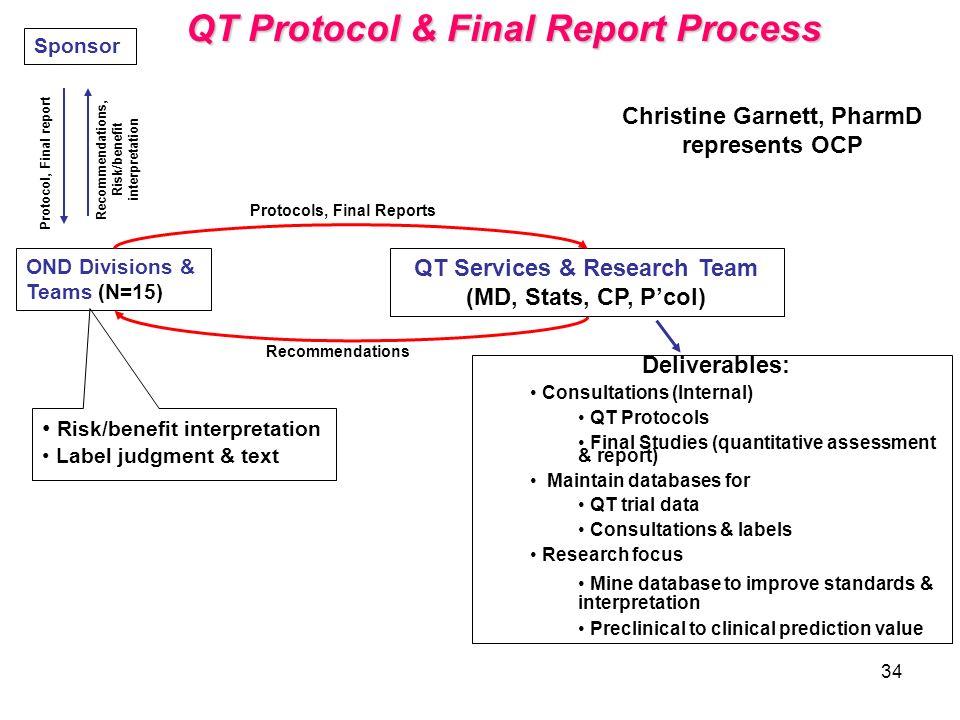 34 Deliverables: Consultations (Internal) QT Protocols Final Studies (quantitative assessment & report) Maintain databases for QT trial data Consultat