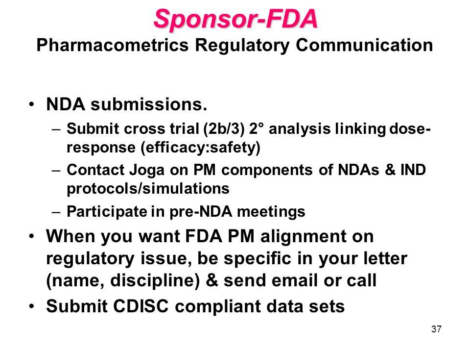 37 Sponsor-FDA Sponsor-FDA Pharmacometrics Regulatory Communication NDA submissions. –Submit cross trial (2b/3) 2° analysis linking dose- response (ef
