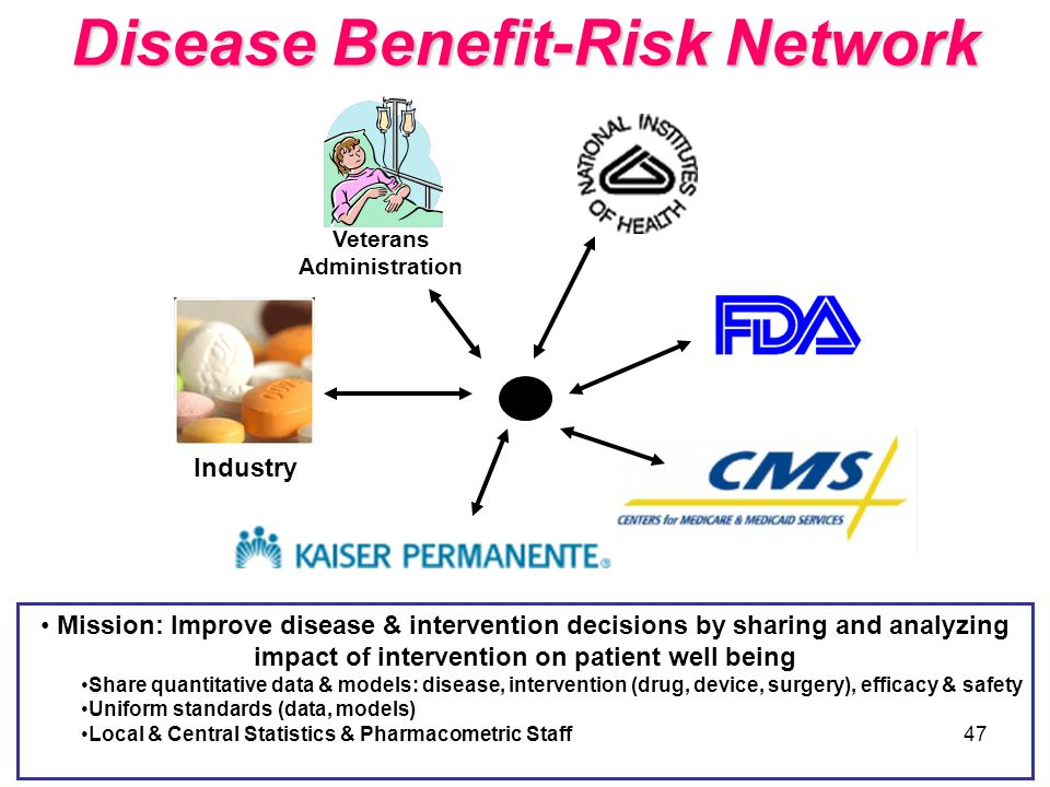 47 Disease Benefit-Risk Network Industry Veterans Administration Mission: Improve disease & intervention decisions by sharing and analyzing impact of
