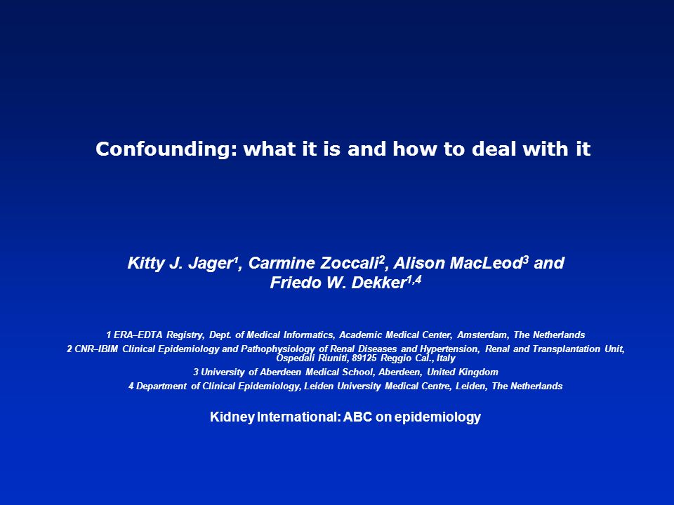 Confounding: what it is and how to deal with it Kitty J.