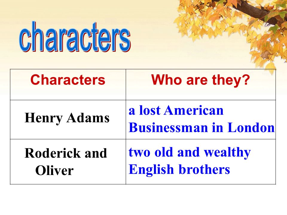 CharactersWho are they.