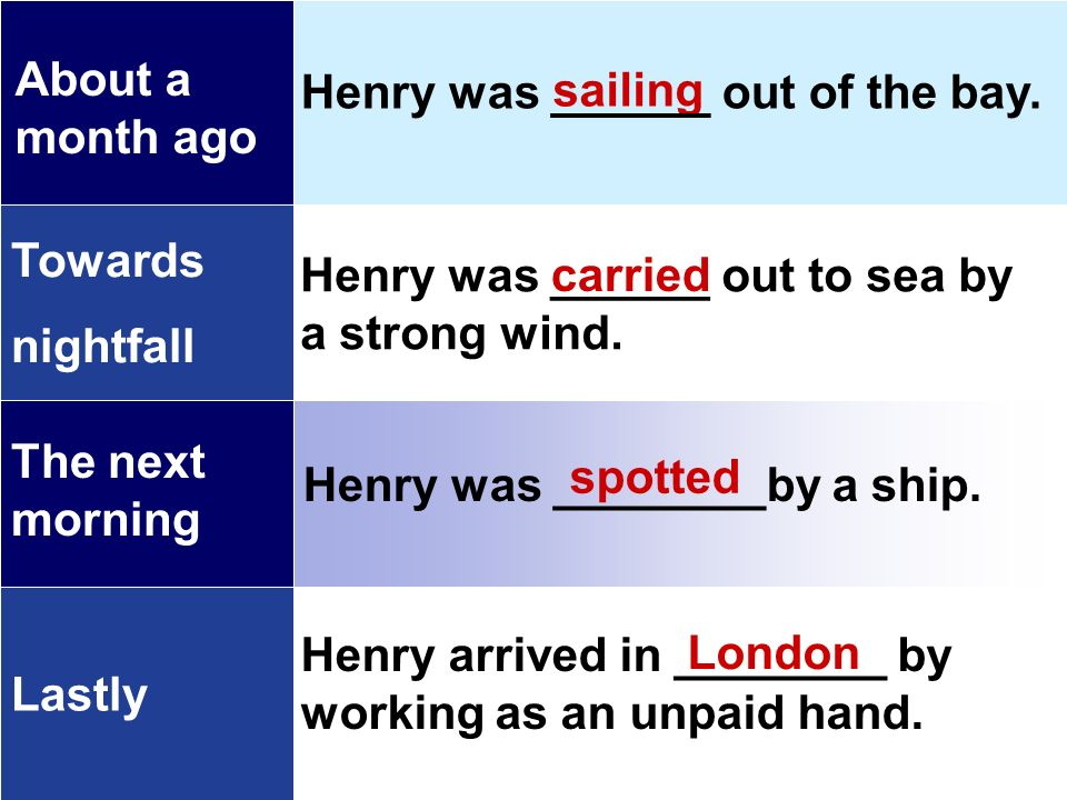 sailing carried spotted London Towards nightfall Lastly About a month ago The next morning Henry was ______ out of the bay.