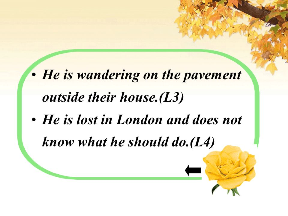 He is wandering on the pavement outside their house.(L3) He is lost in London and does not know what he should do.(L4)