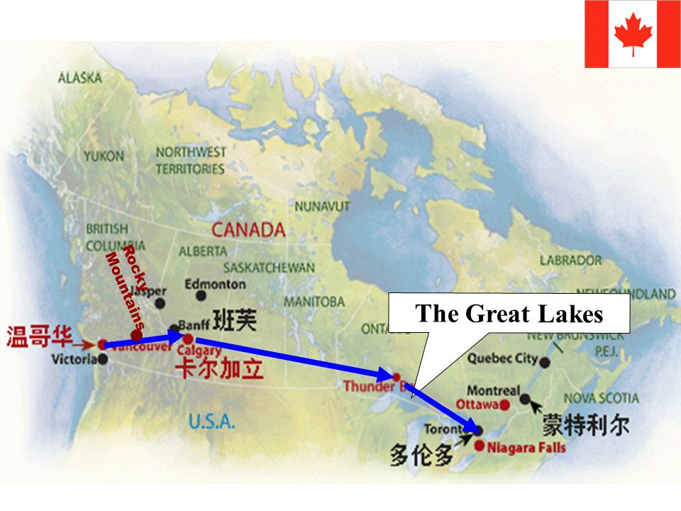 Find out the route of the two girls traveling across Canada.