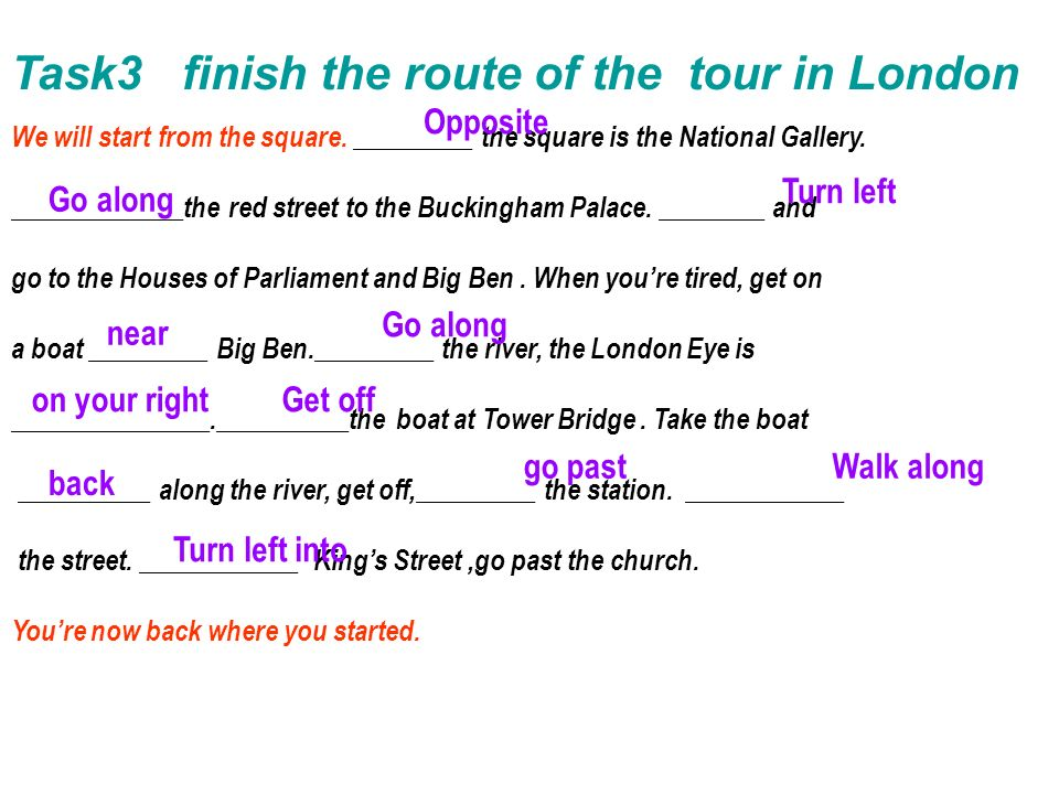 Task3 finish the route of the tour in London We will start from the square.