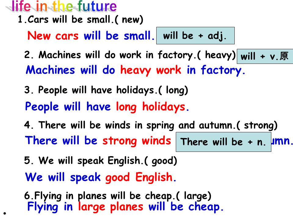 bad weather strong winds warm winterhot summer Climate cable TVcomputers satellite TV dull jobsheavy work interesting jobs expensive fuellarge planes small cars Technology Jobs Transport Activity 4 Put words and phrases into the correct columns The weather will be bad.