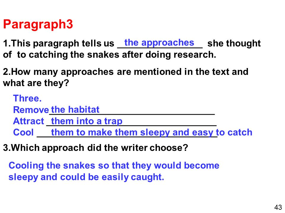 Paragraph3 1.This paragraph tells us ________________ she thought of to catching the snakes after doing research.