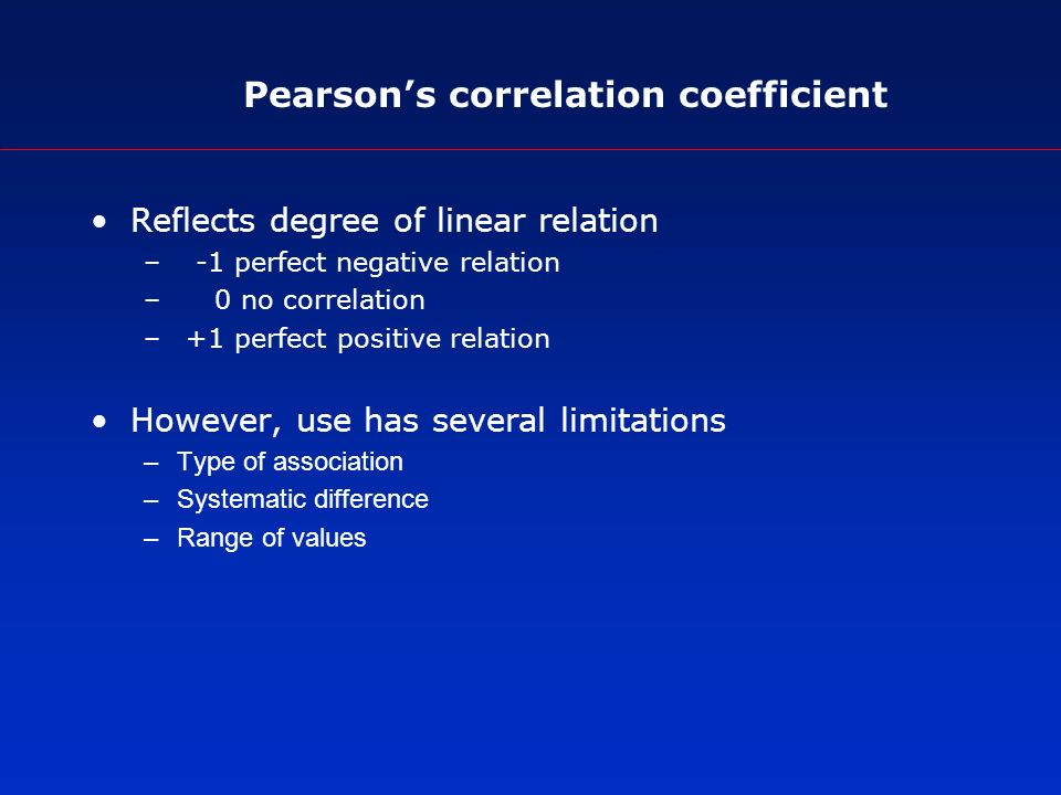 Pearsons correlation coefficient Reflects degree of linear relation – -1 perfect negative relation – 0 no correlation – +1 perfect positive relation However, use has several limitations –Type of association –Systematic difference –Range of values