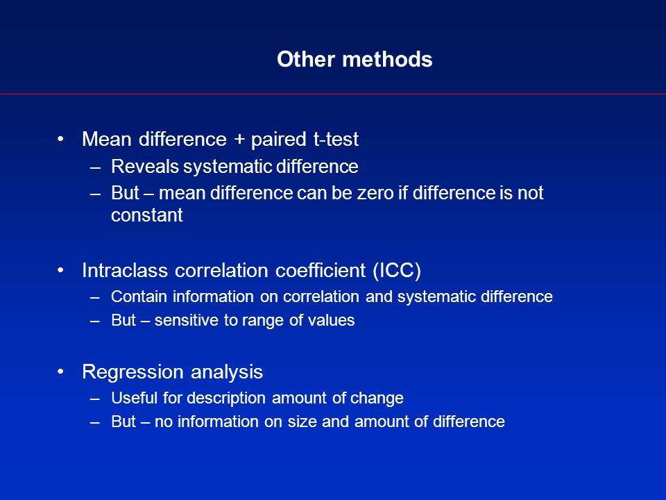 Other methods Mean difference + paired t-test –Reveals systematic difference –But – mean difference can be zero if difference is not constant Intraclass correlation coefficient (ICC) –Contain information on correlation and systematic difference –But – sensitive to range of values Regression analysis –Useful for description amount of change –But – no information on size and amount of difference