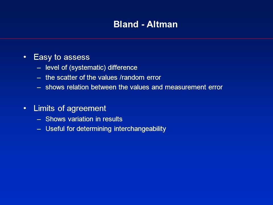 Bland - Altman Easy to assess –level of (systematic) difference –the scatter of the values /random error –shows relation between the values and measurement error Limits of agreement –Shows variation in results –Useful for determining interchangeability
