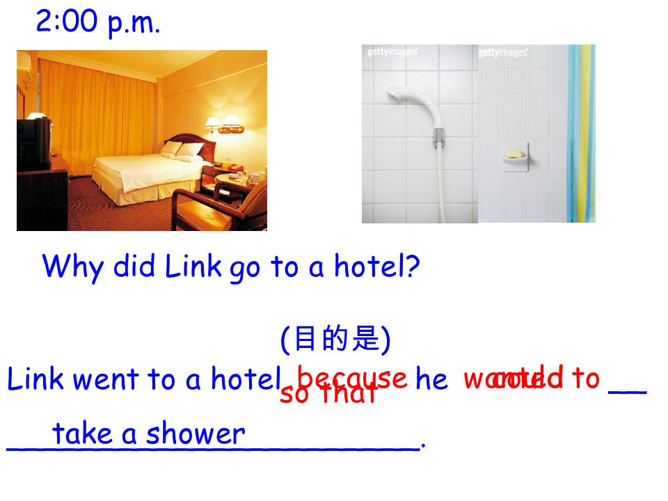 Link went to a hotel he __ ______________________.