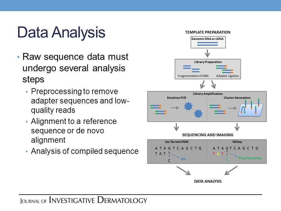 Data Analysis Raw sequence data must undergo several analysis steps Preprocessing to remove adapter sequences and low- quality reads Alignment to a re