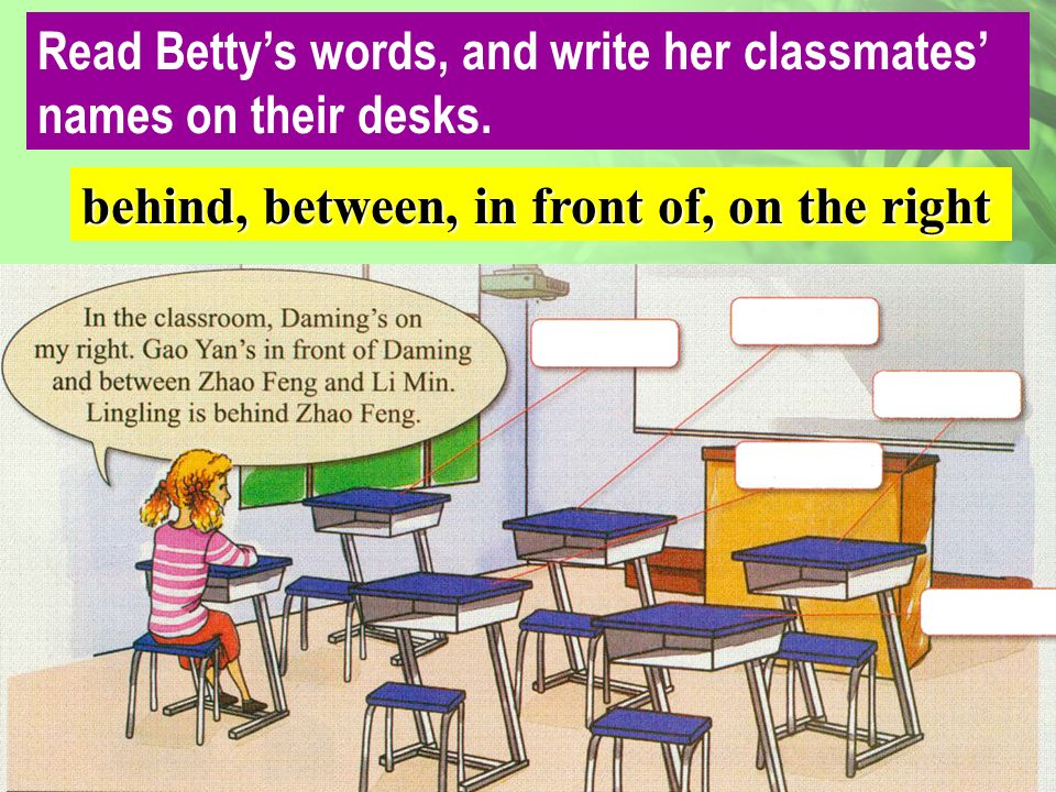 Daming Gao Yan Zhao Feng Li Min Lingling Read Bettys words, and write her classmates names on their desks.