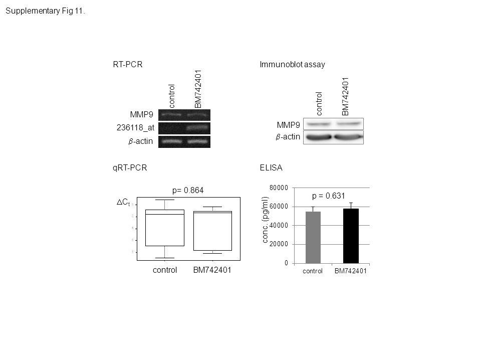 -actin 236118_at MMP9 controlBM742401 controlBM742401 C t p= 0.864 -actin MMP9 controlBM742401 p = 0.631 conc. (pg/ml) Supplementary Fig 11. RT-PCR qR