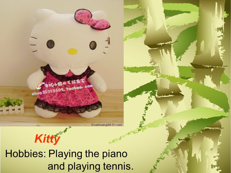 Hobbies: Playing the piano and playing tennis. Kitty