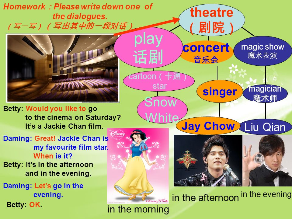 concert magic show play theatre Snow White in the morning magician Liu Qian in the evening singer Jay Chow in the afternoon Betty: Would you like to go to the cinema on Saturday.