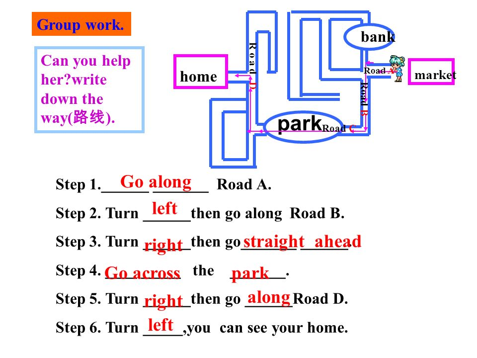 park Step 1.______ _______ Road A. Step 2. Turn ______then go along Road B. Step 3. Turn ______then go_______ ______. Step 4. ____ _____ the _______.