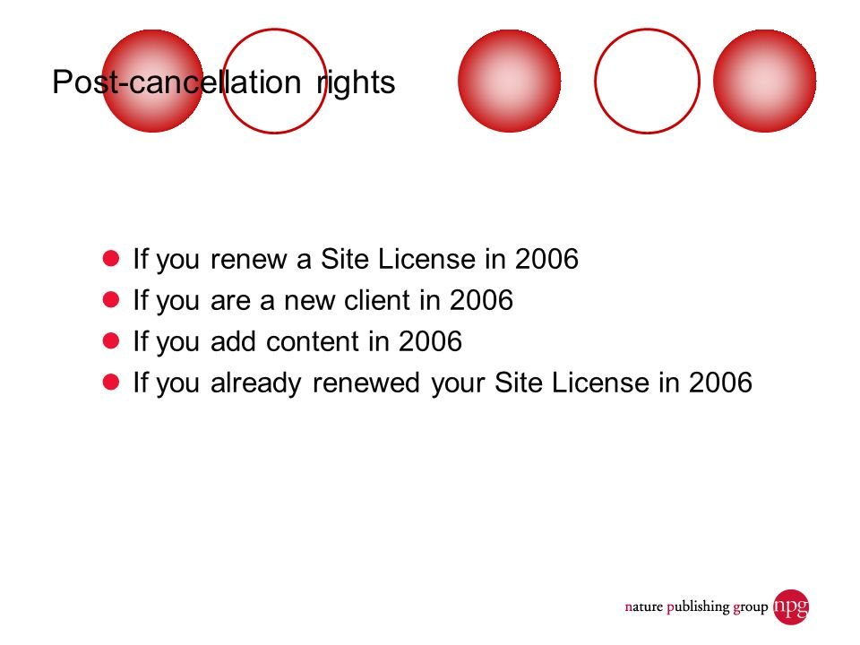 Post-cancellation rights If you renew a Site License in 2006 If you are a new client in 2006 If you add content in 2006 If you already renewed your Site License in 2006