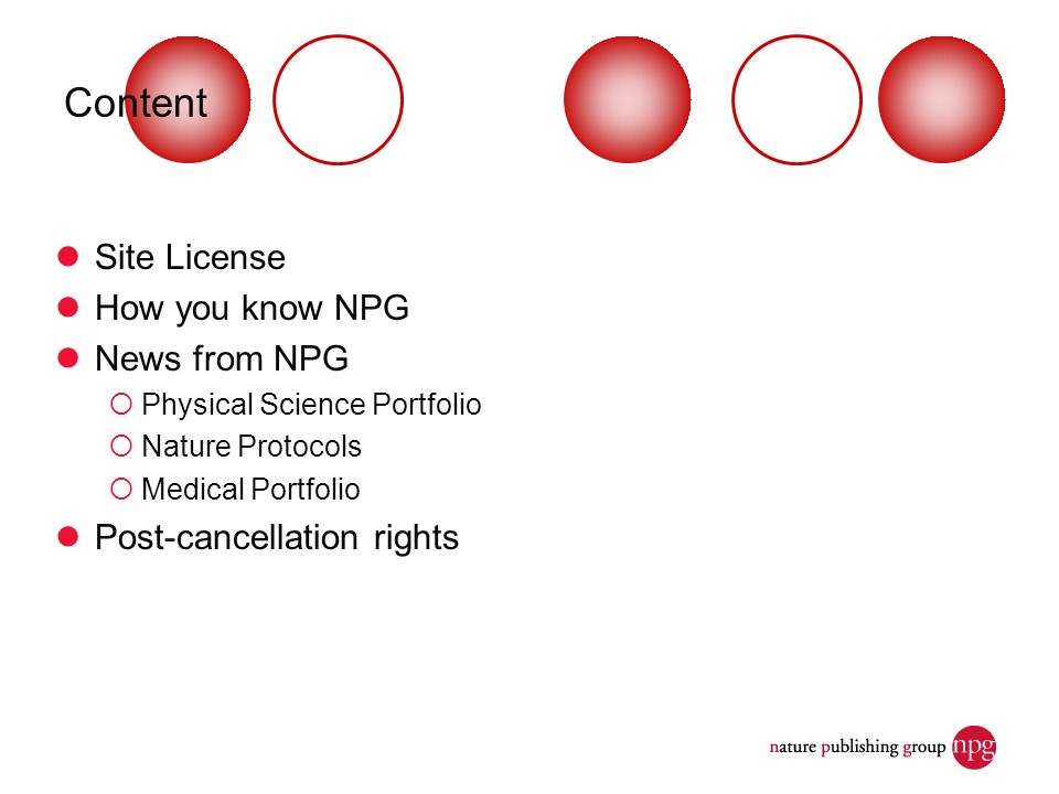 Content Site License How you know NPG News from NPG Physical Science Portfolio Nature Protocols Medical Portfolio Post-cancellation rights