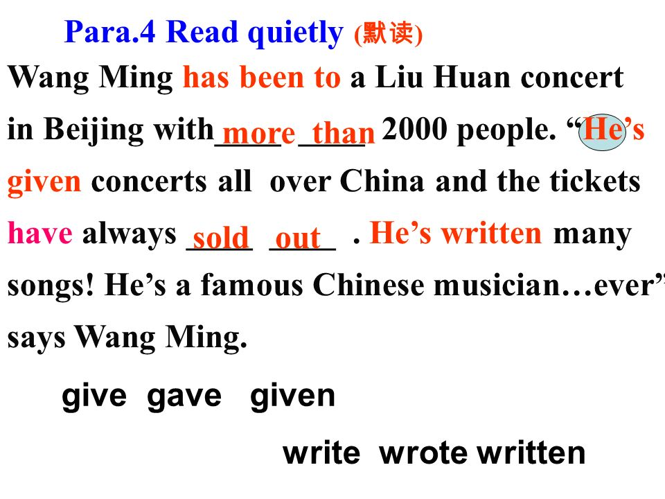 Wang Ming has been to a Liu Huan concert in Beijing with____ ____ 2000 people.