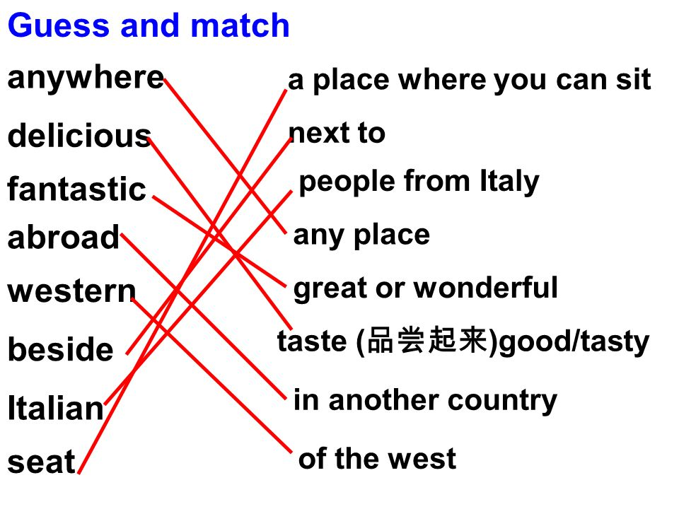 Guess and match anywhere delicious fantastic abroad western beside Italian seat a place where you can sit next to people from Italy any place great or wonderful taste ( )good/tasty in another country of the west