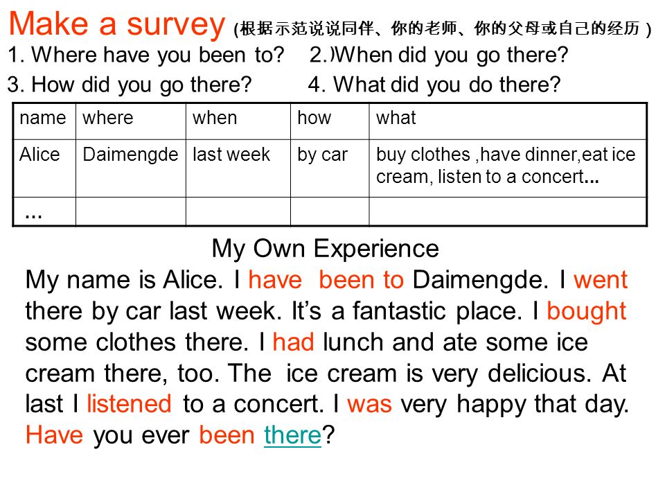 Make a survey ( ) 1. Where have you been to. 2. When did you go there.
