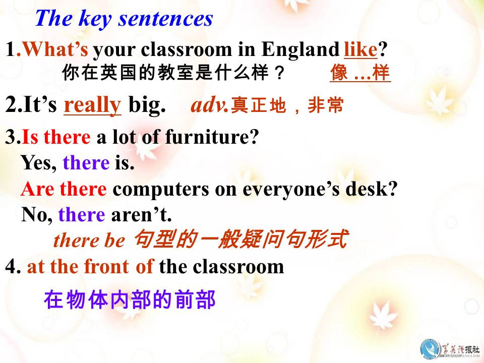 The key sentences 1.Whats your classroom in England like.