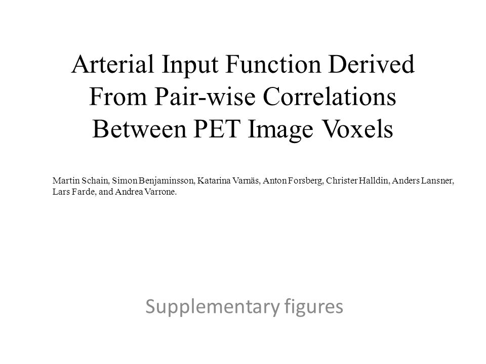 Arterial Input Function Derived From Pair-wise Correlations Between PET Image Voxels Supplementary figures Martin Schain, Simon Benjaminsson, Katarina Varnäs, Anton Forsberg, Christer Halldin, Anders Lansner, Lars Farde, and Andrea Varrone.