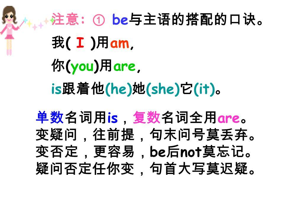 : be ( I ) am, (you) are, is (he) (she) (it) is are be not