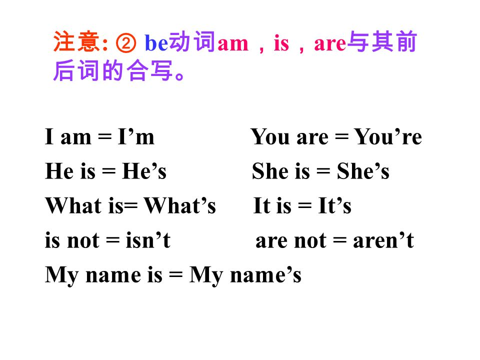 I am = Im You are = Youre He is = Hes She is = Shes What is= Whats It is = Its is not = isnt are not = arent My name is = My names : be am is are