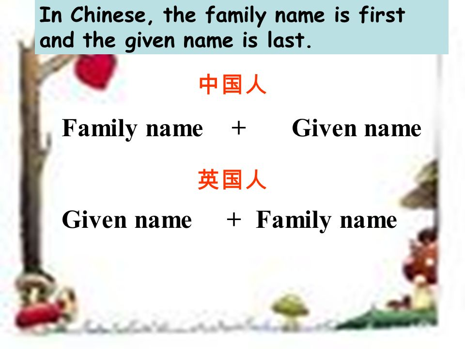 Family name + Given name Given name +Family name In Chinese, the family name is first and the given name is last.