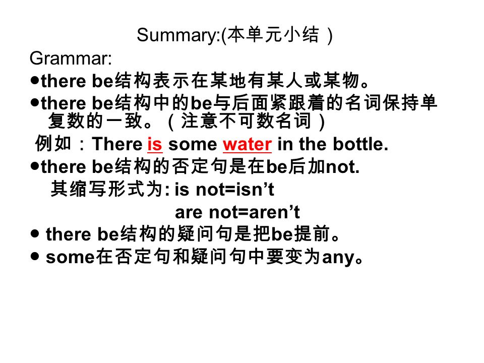 Summary:( Grammar: there be there be be There is some water in the bottle. there be be not. : is not=isnt are not=arent there be be some any