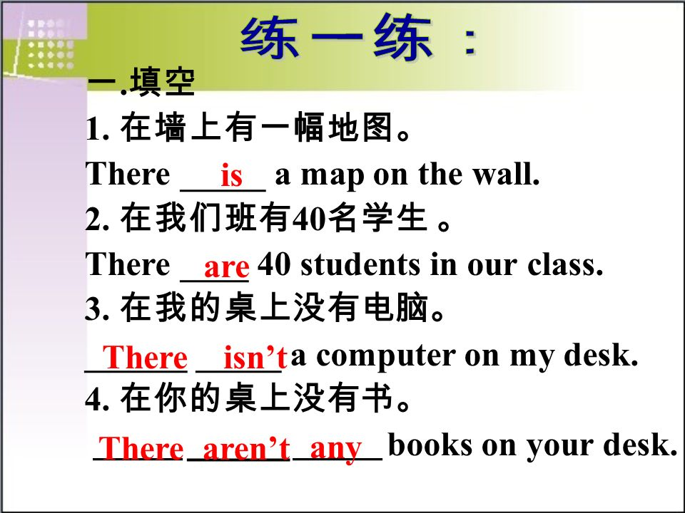 . 1. There _____ a map on the wall. 2. 40 There ____ 40 students in our class. 3. ______ _____ a computer on my desk. 4. ______ ______ ______ books on