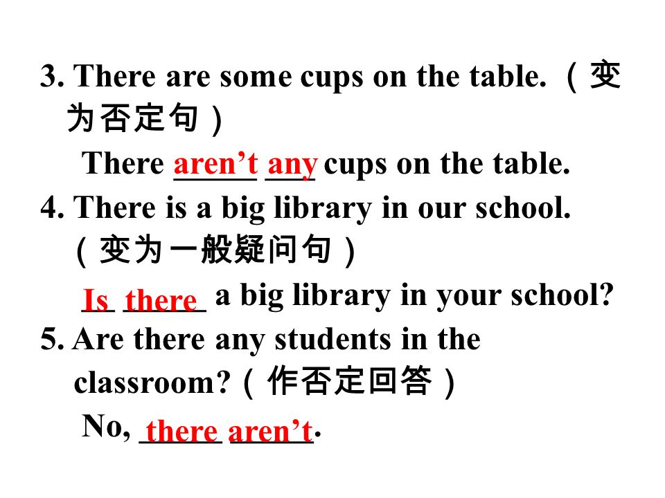 3. There are some cups on the table. There _____ ___ cups on the table. 4. There is a big library in our school. __ _____ a big library in your school