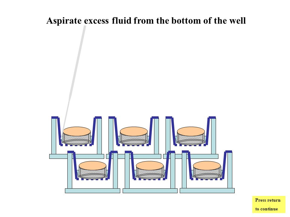 Aspirate excess fluid from the bottom of the well Press return to continue