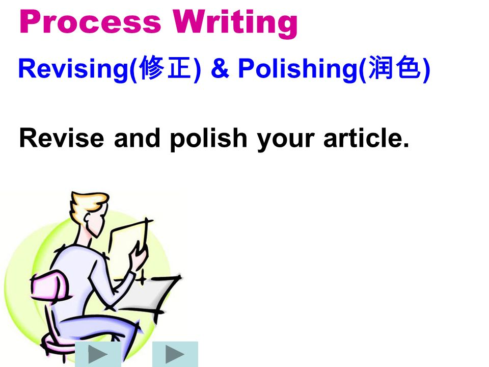 Process Writing Revising( ) & Polishing( ) Revise and polish your article.
