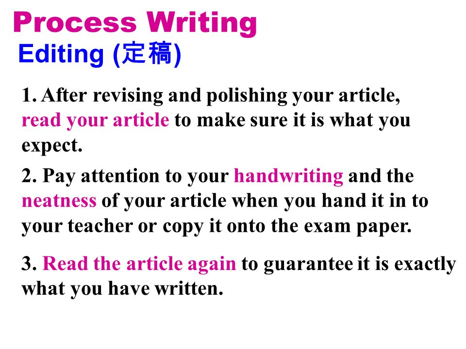 Editing ( ) Process Writing 2. Pay attention to your handwriting and the neatness of your article when you hand it in to your teacher or copy it onto