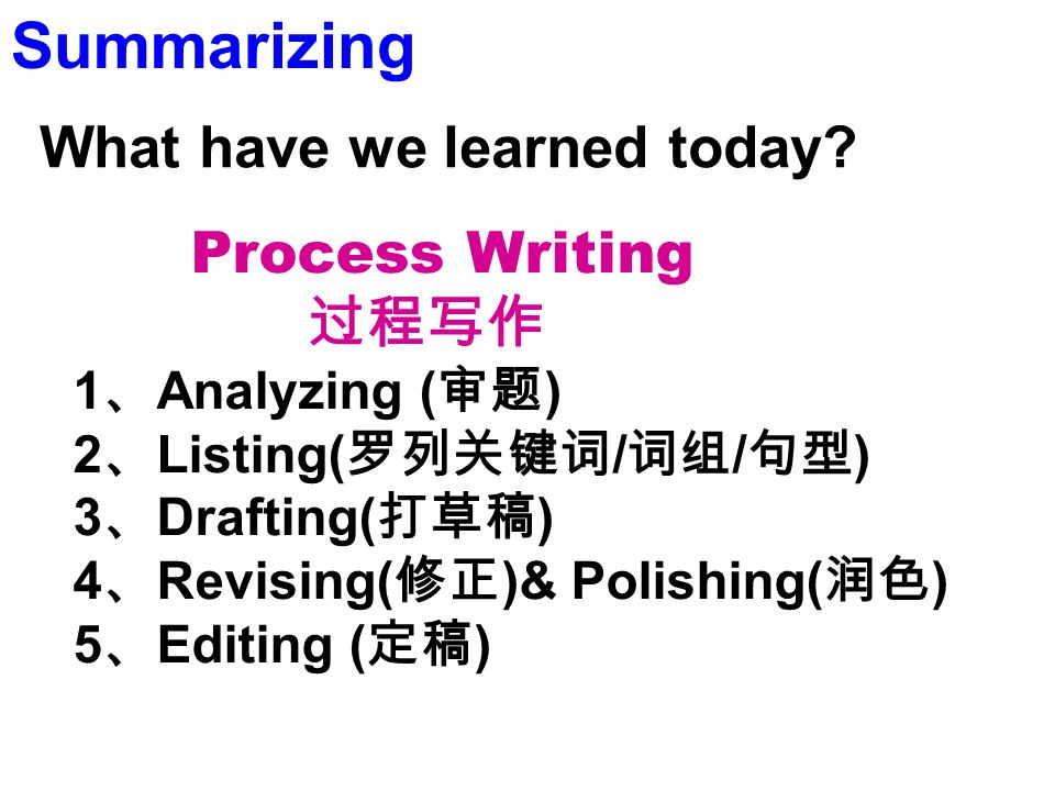 Process Writing 1 Analyzing ( ) 2 Listing( / / ) 3 Drafting( ) 4 Revising( )& Polishing( ) 5 Editing ( ) Summarizing What have we learned today?