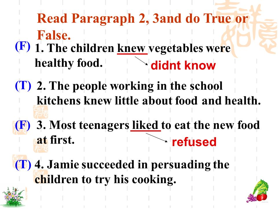 Read Paragraph 2, 3and do True or False. 1. The children knew vegetables were healthy food. 3. Most teenagers liked to eat the new food at first. 2. T