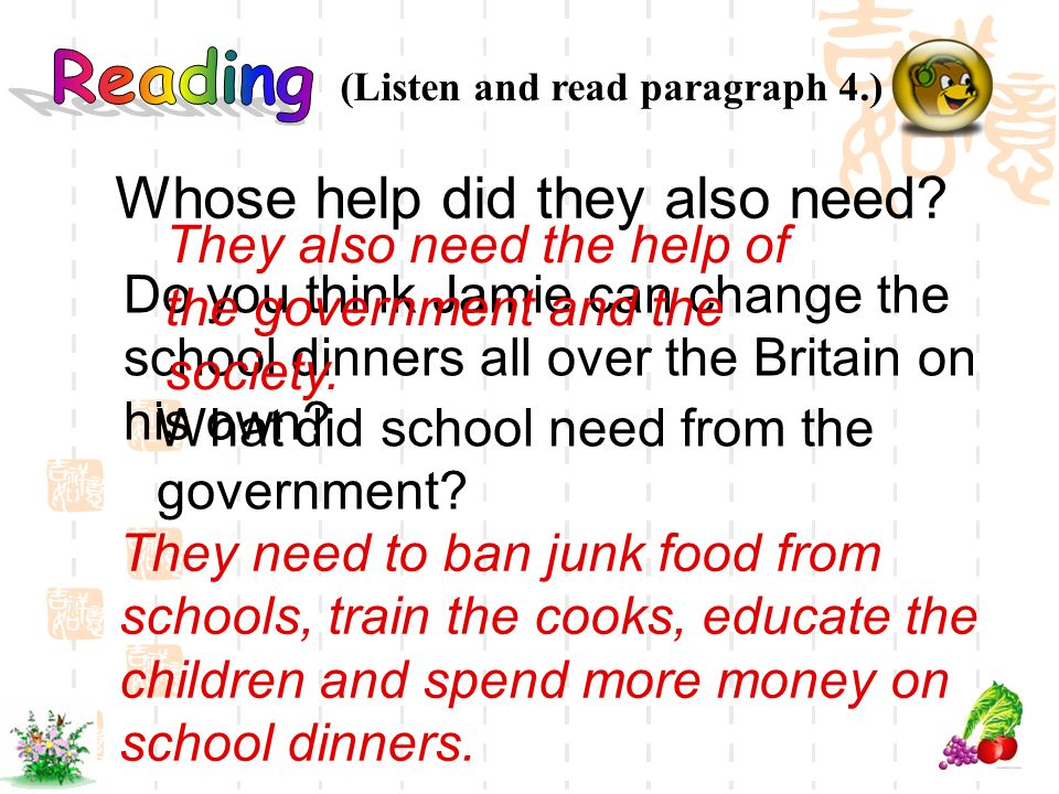 (Listen and read paragraph 4.) Do you think Jamie can change the school dinners all over the Britain on his own? Whose help did they also need? They a