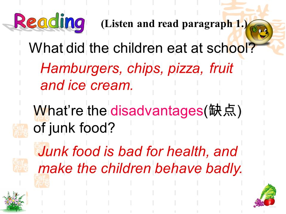 (Listen and read paragraph 1.) Whatre the disadvantages( ) of junk food? Junk food is bad for health, and make the children behave badly. What did the