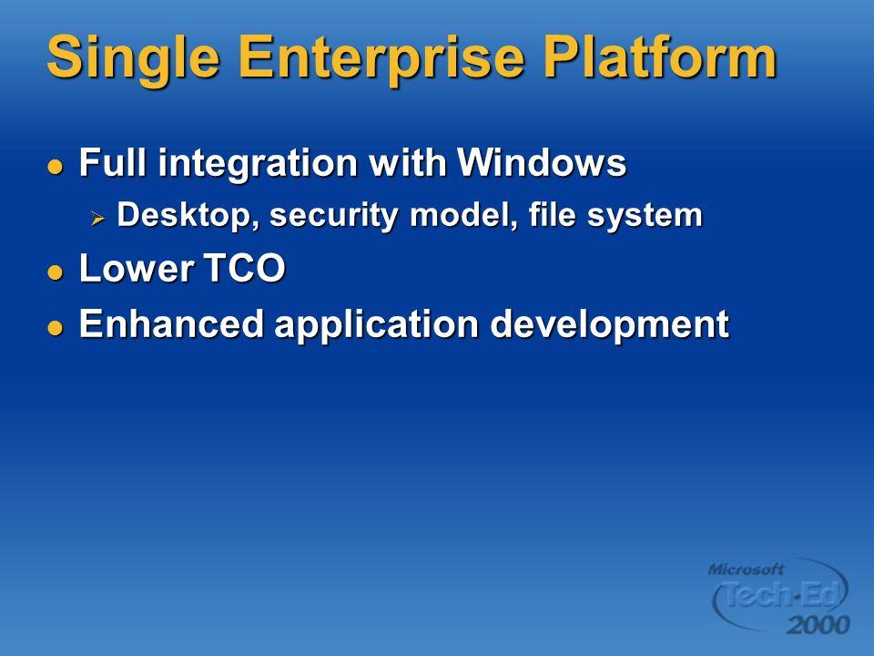 Single Enterprise Platform Full integration with Windows Full integration with Windows Desktop, security model, file system Desktop, security model, file system Lower TCO Lower TCO Enhanced application development Enhanced application development