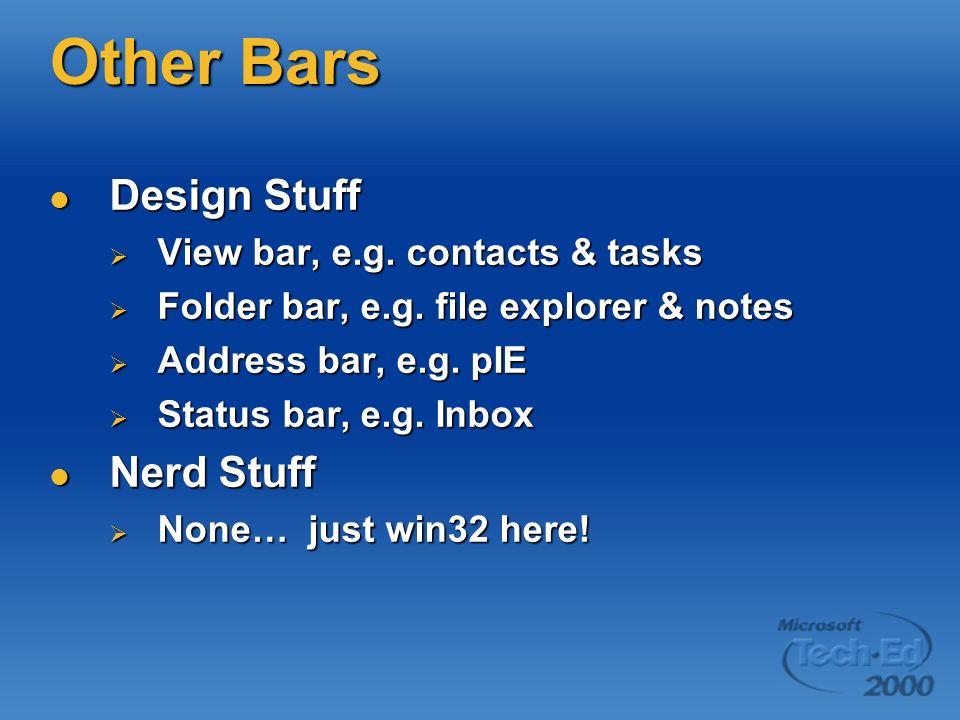 Other Bars Design Stuff Design Stuff View bar, e.g.