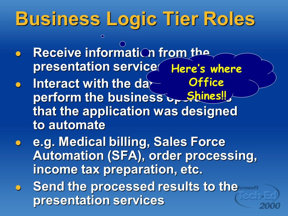 Presentation Tier Roles Gather information from the user Gather information from the user Send information to the business services for processing Send information to the business services for processing Receive results of business services processing Receive results of business services processing Present results to the user Present results to the user Same, ol boring stuff.