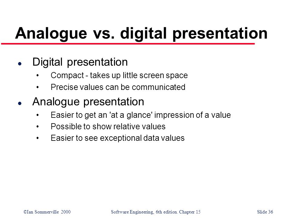 ©Ian Sommerville 2000 Software Engineering, 6th edition. Chapter 15Slide 36 Analogue vs. digital presentation l Digital presentation Compact - takes u