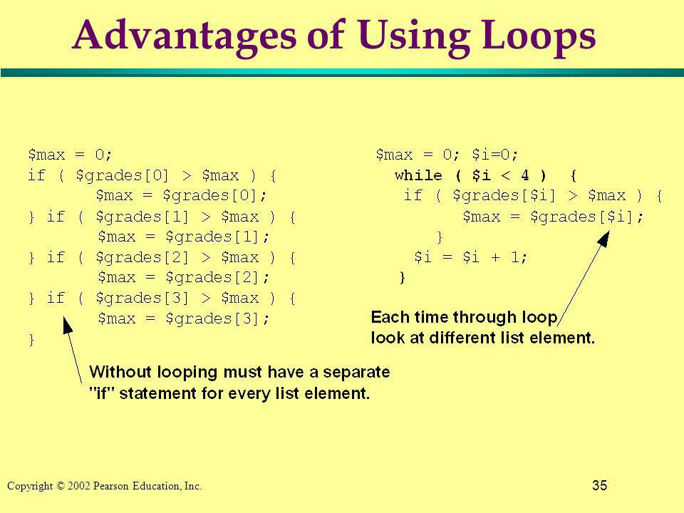 35 Copyright © 2002 Pearson Education, Inc. Advantages of Using Loops