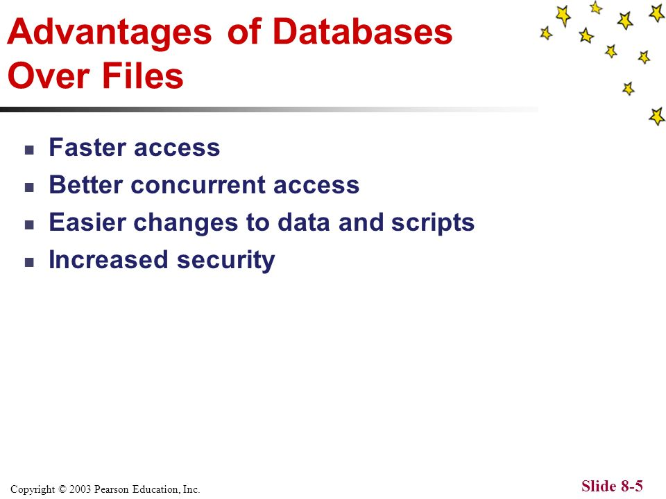 Copyright © 2003 Pearson Education, Inc. Slide 8-4 What is a database.